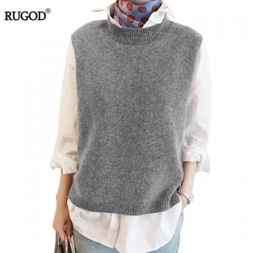 RUGOD Vest New Autumn Women Vest Pretty Sleeveless O Neck Rabbit Hair Knitted Vest Women