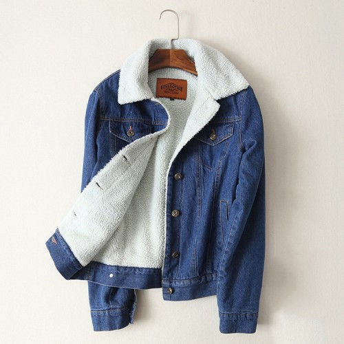 Spring Autumn Winter New Women lambswool jean Coat With 4 Pockets Long Sleeves Warm Jeans