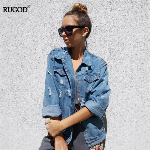 Women Basic Coats Autumn And Winter Women Denim Jacket 2017 Vintage Long Sleeve Loose Female Jeans
