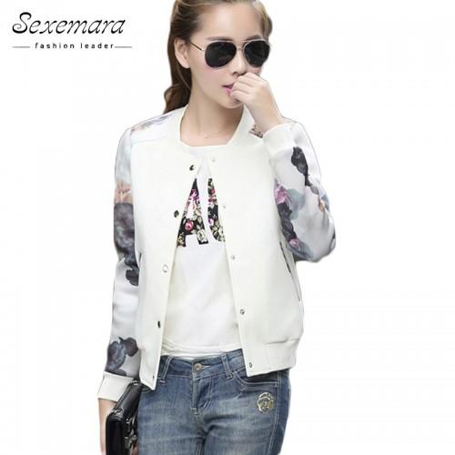 Women Jacket Brand Tops Flower Print Girl Plus Size Casual baseball Sweatshirt Button Thin Bomber