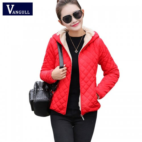 women winter jacket hooded fleece solid coat 2017 Autumn spring thin outerwear female short zipper student