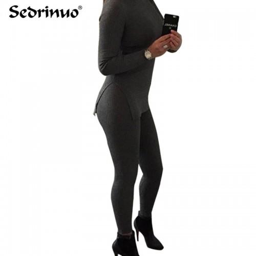 2 pieces Bodycon Jumpsuit Autumn Winter Rompers Jumpsuit Knitting black gray Bodysuits Long bandage Jumpsuits