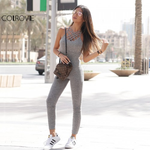 COLROVIE Grey Marled Ribbed Jumpsuit Cage Neck Skinny Women Casual Knit Jumpsuits Fall Cross