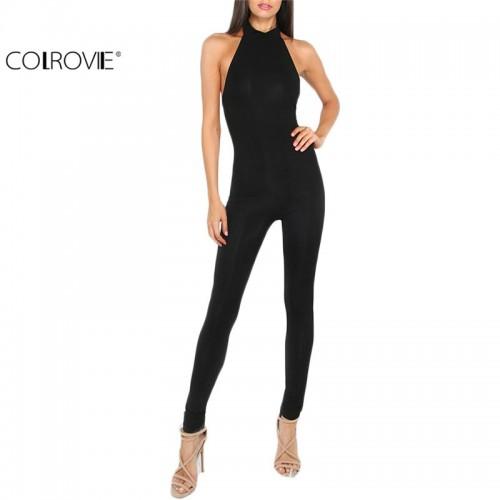 COLROVIE Women Plain Black jumpsuit Slim Backless Ladies Summer Sleeveless Round Neck Bodycon Sheath Jumpsuit