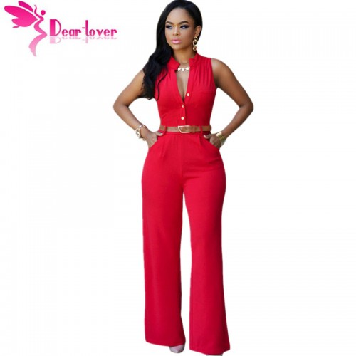 DearLover Fashion Big Women Sleeveless Maxi Overalls Belted Wide Leg Jumpsuit 7 Colors S 2XL Plus