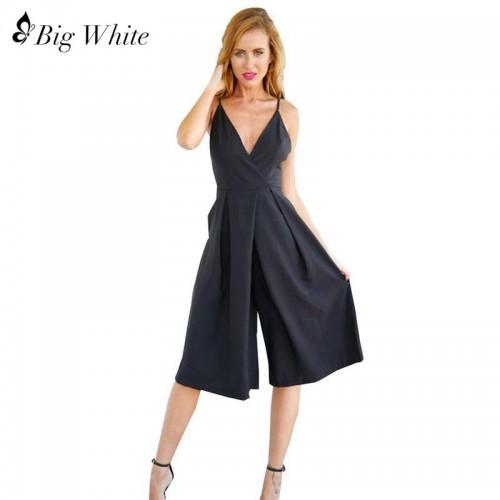 Fashion Rompers Women Black Spring Summer Elegant Size V Neck Jumpsuit Rompers Womens Jumpsuit