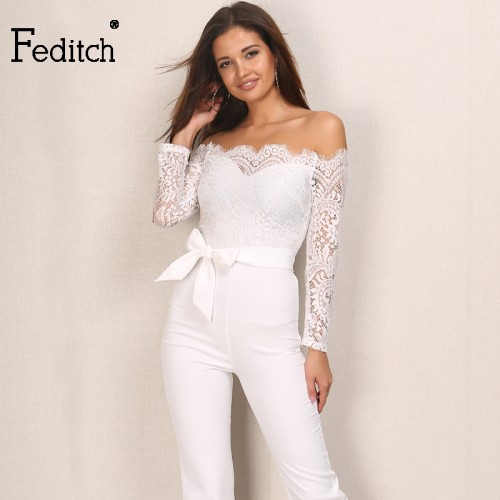 Feditch Autumn New Lace Jumpsuit Women Ladies Elegant Neck Off Shoulder Overalls Long Sleeve
