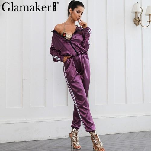 Glamaker Women autumn two pieces suit sweatshirt Satin fashion chic sweat suit long pants Zipper winter