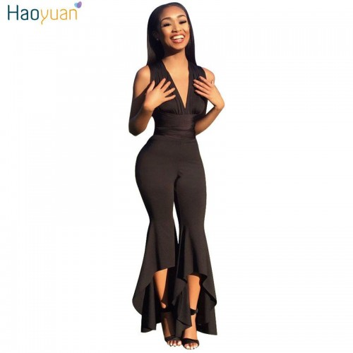 HAOYUAN Wide Leg Bodycon Jumpsuit Deep V Summer Full Bodysuit Bodies Woman Club Party Black