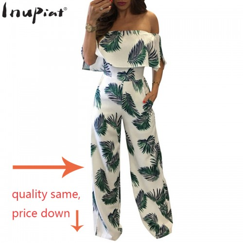 INUPIAT New Style Women s Jumpsuits Romper Full Length Straight Fashion Off Shoulder Women Jumpsuit