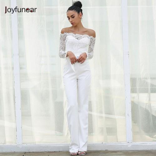 Joyfunear Lace Summer Rompers Womens Jumpsuit Ladies Casual Elegant Off shoulder Long Trousers Overalls