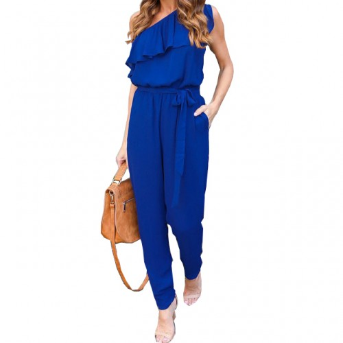 Jumpsuits Summer Ruffles Chiffon Overalls Casual One Shoulder Long Playsuits Rompers Women Jumpsuit Plus