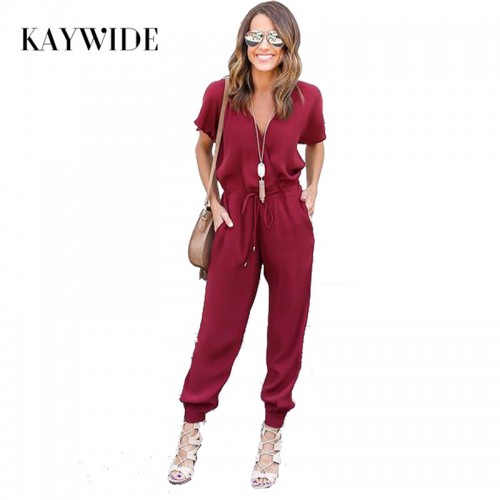 Kaywide V Neck Pleated Waist Pocket Rompers Womens Jumpsuit Loose Cross Overalls Black Red Short