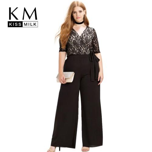 Kissmilk Women Plus Size Clothing Casual Black Surplice Wrap Lace Patchwork Jumpsuits Rompers Pants Big Size