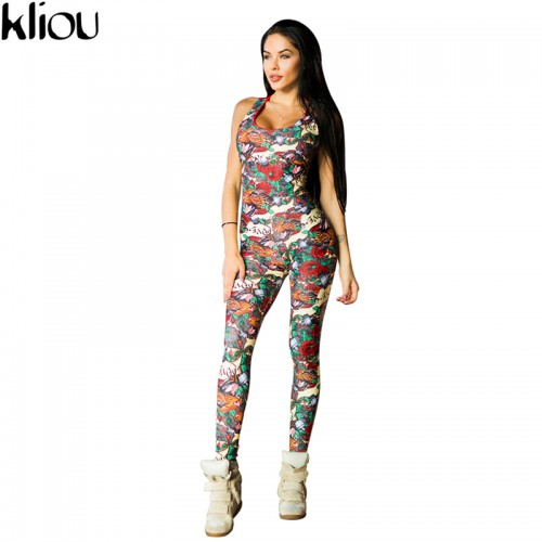 Kliou Sleeveless print Jumper Striped Bodysuit Overalls Women Bodycon Jumpsuits and Rompers Casual Sporting