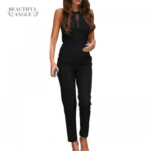 Lace Patchwork Romper Playsuits Long Pants Plus Size New Elegant Rompers Sleeveless Women Jumpsuit Fashion