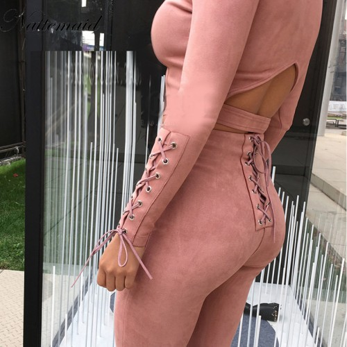 NATTEMAID Fashion style suede Jumpsuit womens Romper Beige color long pants Bodycon fitted jumpsuits 2