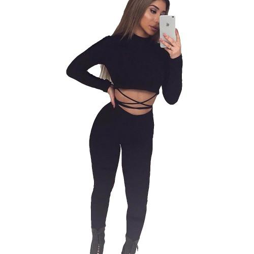 Nadafair Women Two Pieces Outfit Crop Long Pants Women Jumpsuit Long Sleeve Black Skinny Rompers
