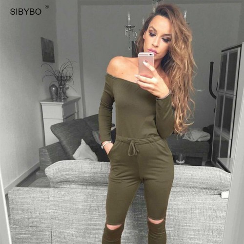 Sibybo 6 Color New Rompers Womens Jumpsuit Off Shoulder Long Sleeve Autumn Elegant Bodycon