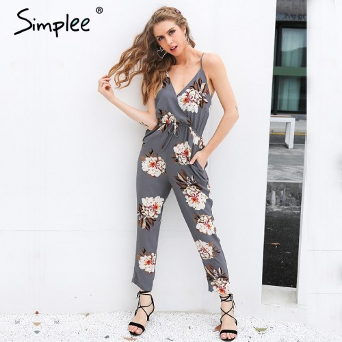 Simplee Casual print long jumpsuit romper women straight overalls Streetwear sashes chiffon playsuit