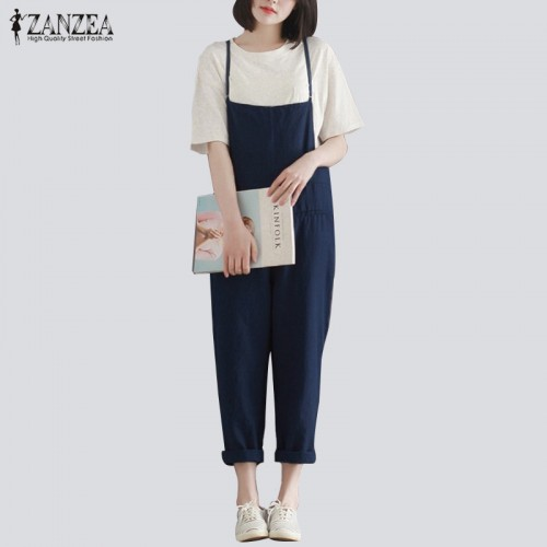 ZANZEA Retro Womens Rompers Ladies Jumpsuits Casual Solid Loose Spaghetti Strap Sleeveless Pockets Baggy Simple