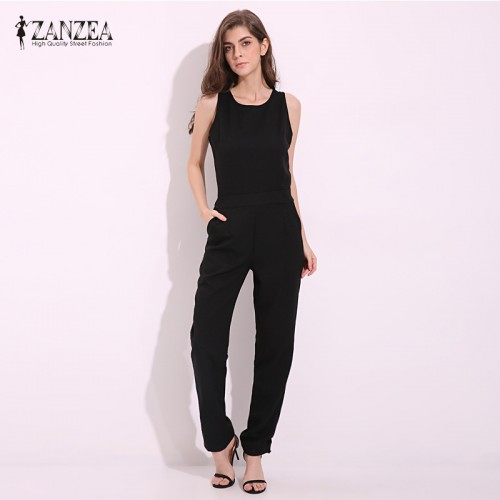 ZANZEA Summer Rompers Womens Jumpsuit Casual Elegant Sleeveless Long Trousers Overalls