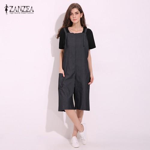 ZANZEA Womens Jumpsuits Sleeveless Adjustable Strap Pockets Button Wide Leg Denim Blue Retro Rompers Calf