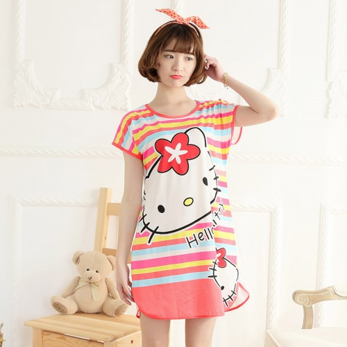 Printed Sleepwear Short Sleeve Long T Shirt (11)