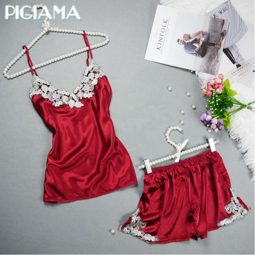 Embroidered Women Satin Pajamas Set Lace Silk Pyjama Set V neck Ladies Pijamas Sleepwear.