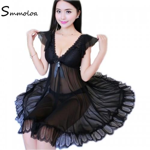 Smmoloa Nightgown Mesh Lace Nightwear Women Sleeping Lingerie Deep V Sleepwear
