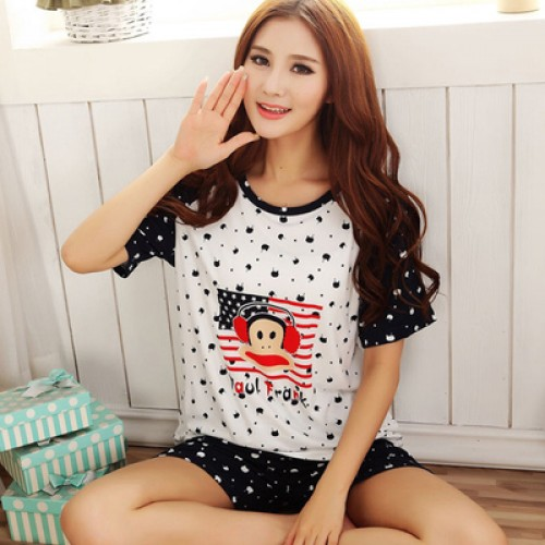 Women Summer Short Sleeve Thin Cotton Loose Sleepwear (10)