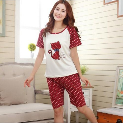 Women Summer Short Sleeve Thin Cotton Loose Sleepwear (13)