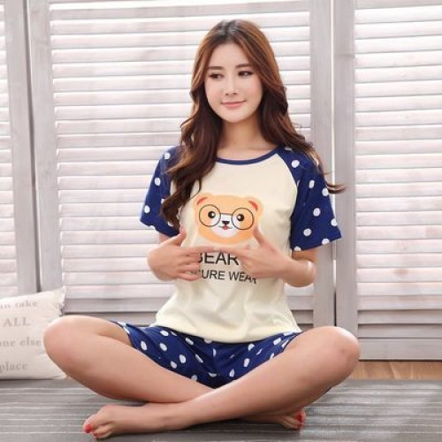Women Summer Short Sleeve Thin Cotton Loose Sleepwear (17)