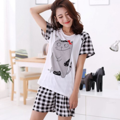 Women Summer Short Sleeve Thin Cotton Loose Sleepwear (2)