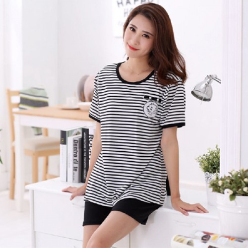 Women Summer Short Sleeve Thin Cotton Loose Sleepwear (3)