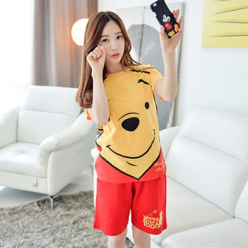 Women Fashion Cartoon Printed Round Neck Short Sleeved Sleepwear Leisure Shorts Set