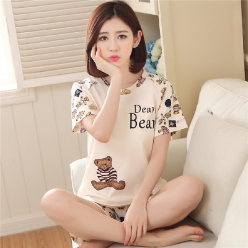 Women Summer Short Sleeve Thin Cotton Loose Sleepwear (5)