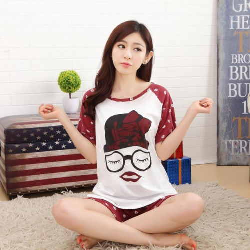 Women Summer Short Sleeve Thin Cotton Loose Sleepwear (7)