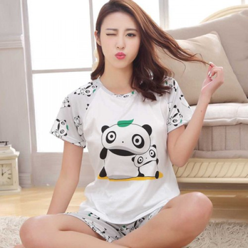 Women Summer Short Sleeve Thin Cotton Loose Sleepwear (9)