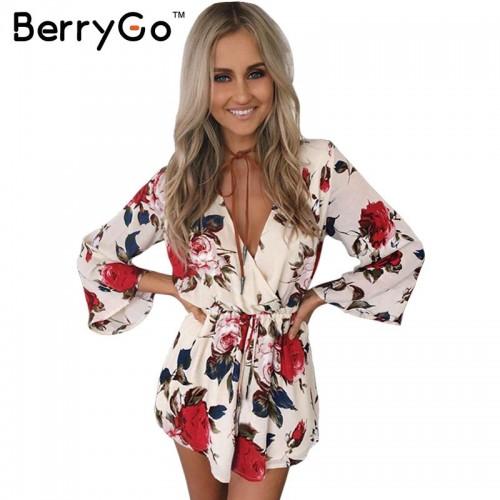 BerryGo Boho floral elegant jumpsuit romper Women summer v neck one piece playsuit Beach sashes