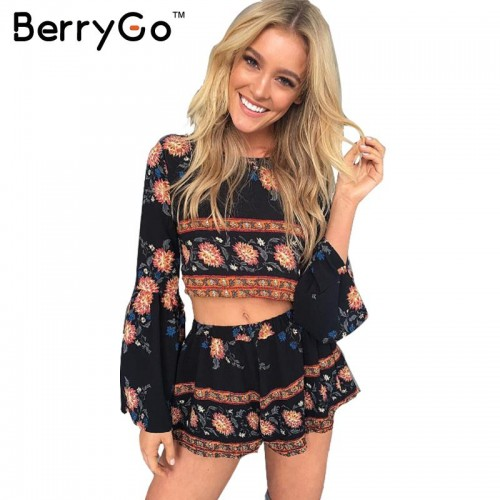 BerryGo Fashion boho print elegant jumpsuit romper Summer beach backless playsuit Women two piece floral