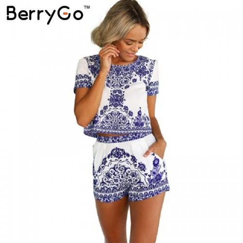 BerryGo summer style porcelain print two piece jumpsuit romper Women short sleeve crop top playsuit