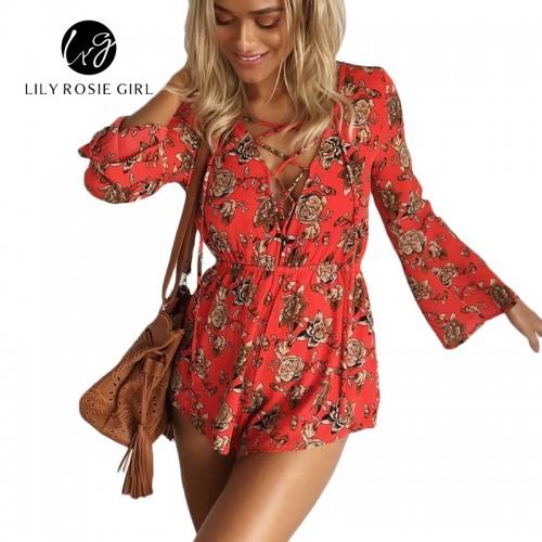 Boho Lace Up Deep V Neck Red Floral Print Women Playsuits Elegant Summer Backless