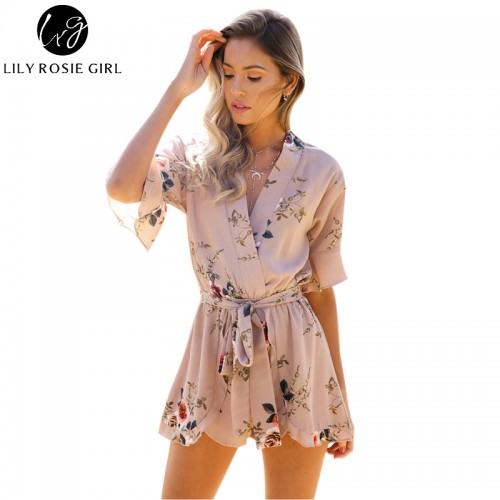 Boho Red Floral Print Ruffles Playsuits Women Elegant Autumn White V Neck Jumpsuits Rompers Beach