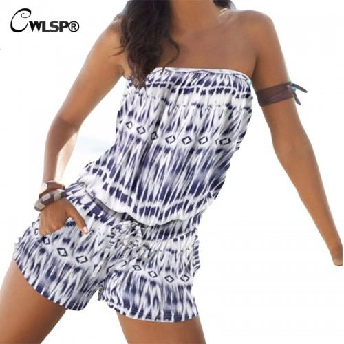 CWLSP Bohemian Beach Playsuit Summer Romper Women Loose tie dye jumpsuit Print Strapless Bodysuit