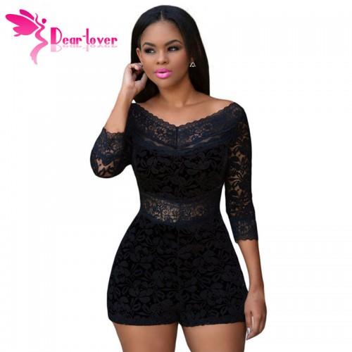 Dear Lover Playsuits Shorts XL Black Lace Overlay Off shoulder Romper Womens Jumpsuit Bodysuits Monos Overalls