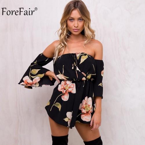 ForeFair Summer Floral Print Elastic Waist Short Chiffon Jumpsuit Women Flare Sleeve Boot Cut Strapless