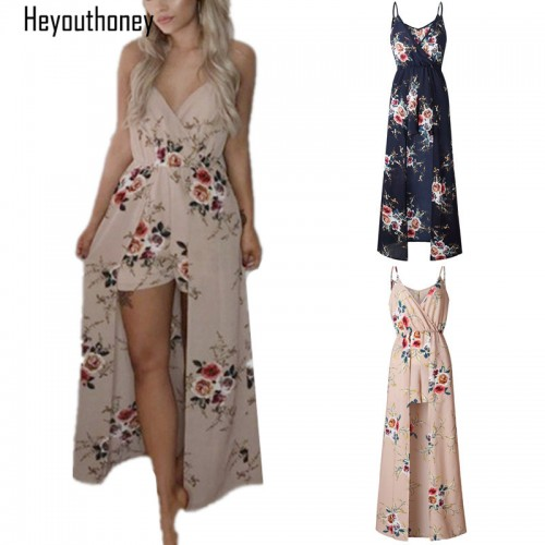 Heyouthoney Floral Print V Neck Spaghetti Sleeveless Jumpsuit for Women Playsuits Rompers Summer Beach Maxi