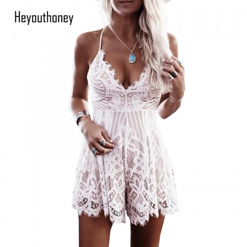 Heyouthoney Summer Lace Camisole V Neck Playsuit Shorts Rompers Women Bodysuit Beach White Overall