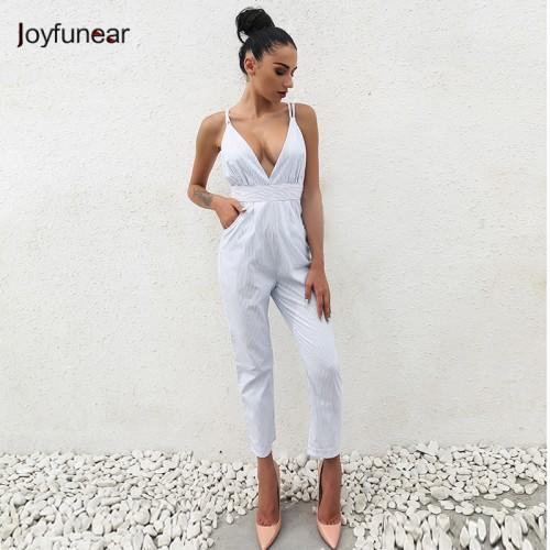 Joyfunear Sleeveless Jumpsuit Shorts Romper Summer Women V neck Button Pockets Bodysuits Lady Fashion Beach